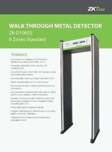 Walk Through Metal Detector; 6 Zones Standard ZK-D1065S