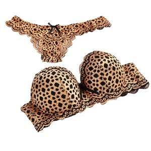 Lovebite Leopard Print Lace Push Up Underwire Sexy Women Bra Set