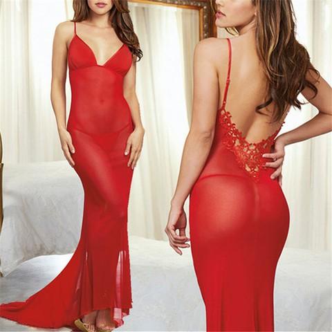 Lovebite Transparent Mesh Babydoll Long Dress