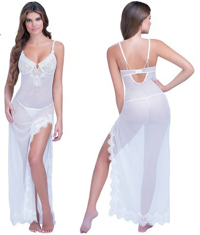 Lovebite women's white Erotic lingerie Eyelashes Lace slits long dress
