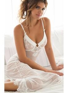 Lovebite women's white Erotic lingerie Eyelashes Lace slits long dress
