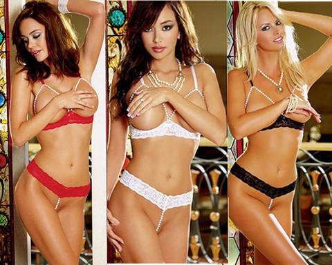 Lovebite Women Sexy Pearl Lace Open Bra Sleepwear Underwear Set