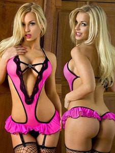 Lovebite Womens Sexy Pink Lingerie Underwear Nightwear Babydoll Monokini