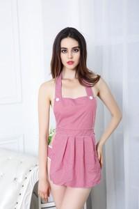 Lovebite Temptation Women Sexy Blue Pink Plaid Lace Maidservant Apron Lingerie