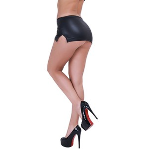 Lovebitebd PVC Wet Look Faux Latex Micro Skirt For Women