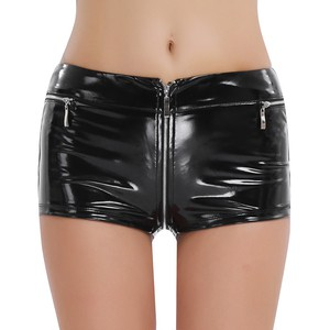 Lovebitebd Wetlook Zippered Open Crotch Boxer Shorts For Women