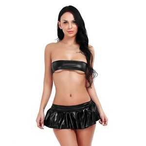 Lovebite Women Dropped Patent Leather Wetlook Bra with A-Line Mini Skirt