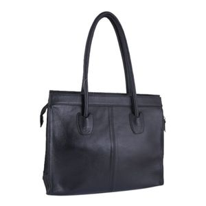 Black Leather Casual Shoulder Bag For Women