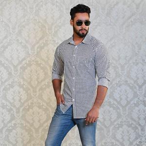 Celio White Print Slim Fit Casual Shirt