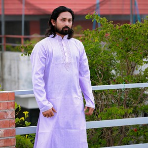 Cotton Light Violet Long Panjabi