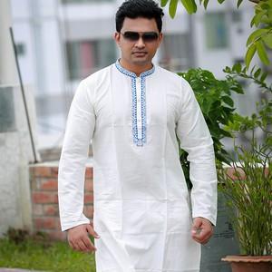 Cotton Off-white Semi Long Panjabi