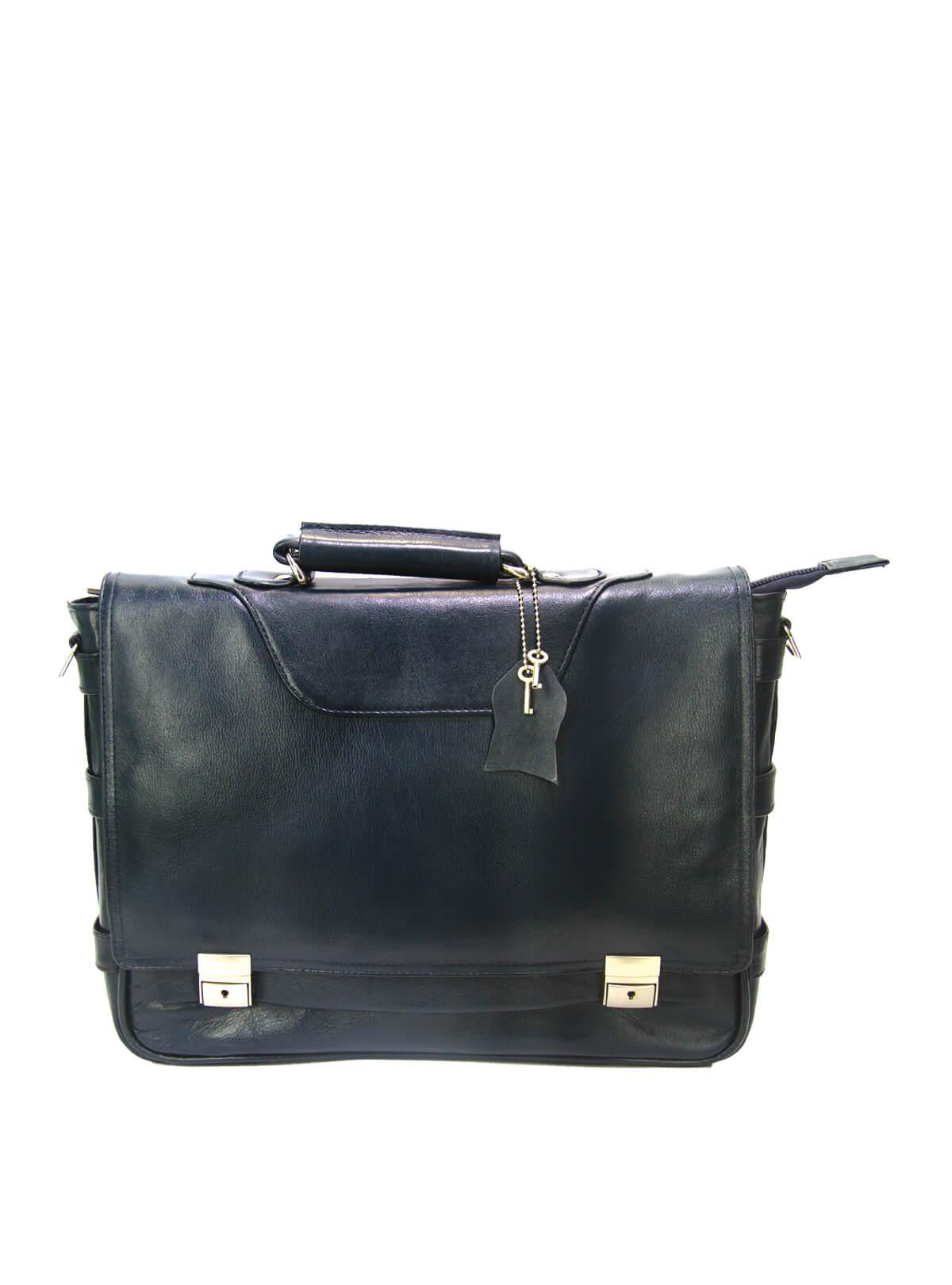 Cinder Grey Leather Office Bag For Men