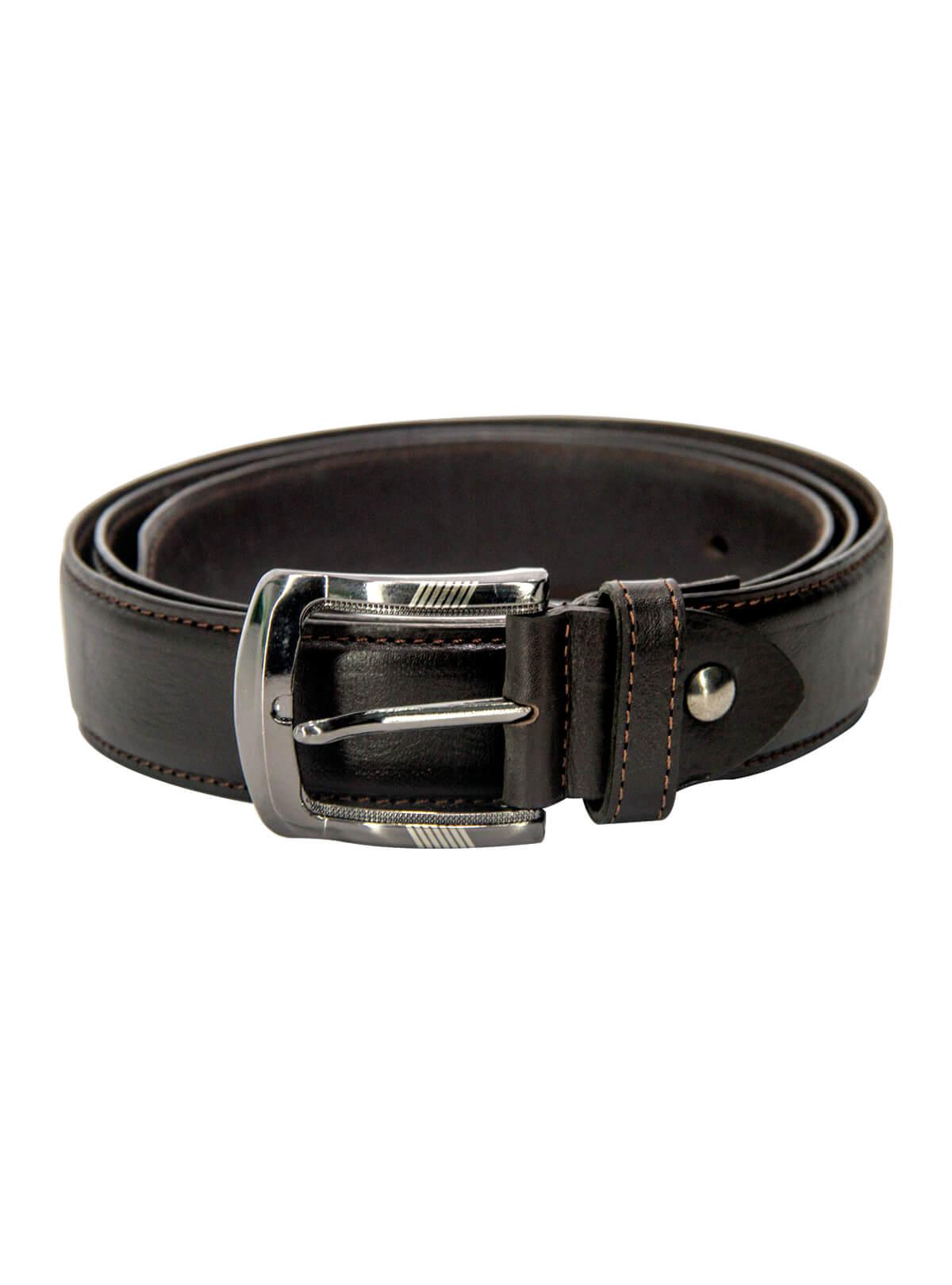Wood Bark Brown Leather Formal Belt For Men