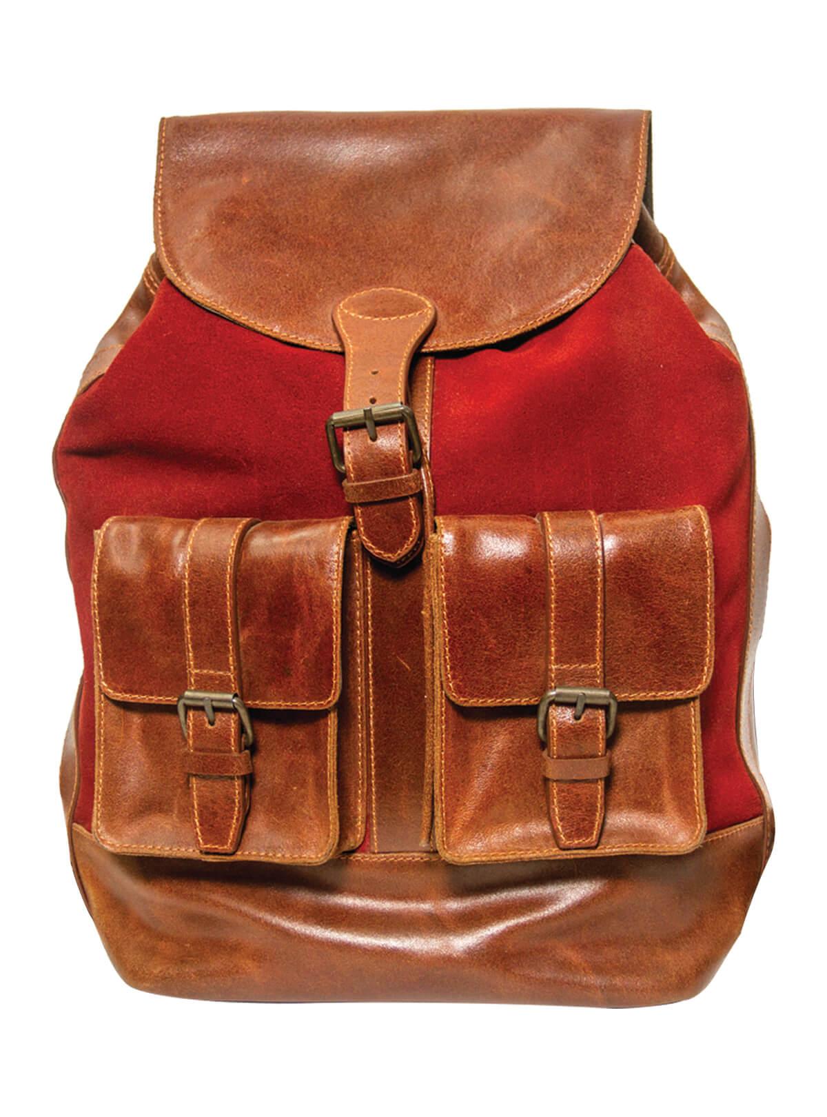 Falu Red Leather Big Backpack