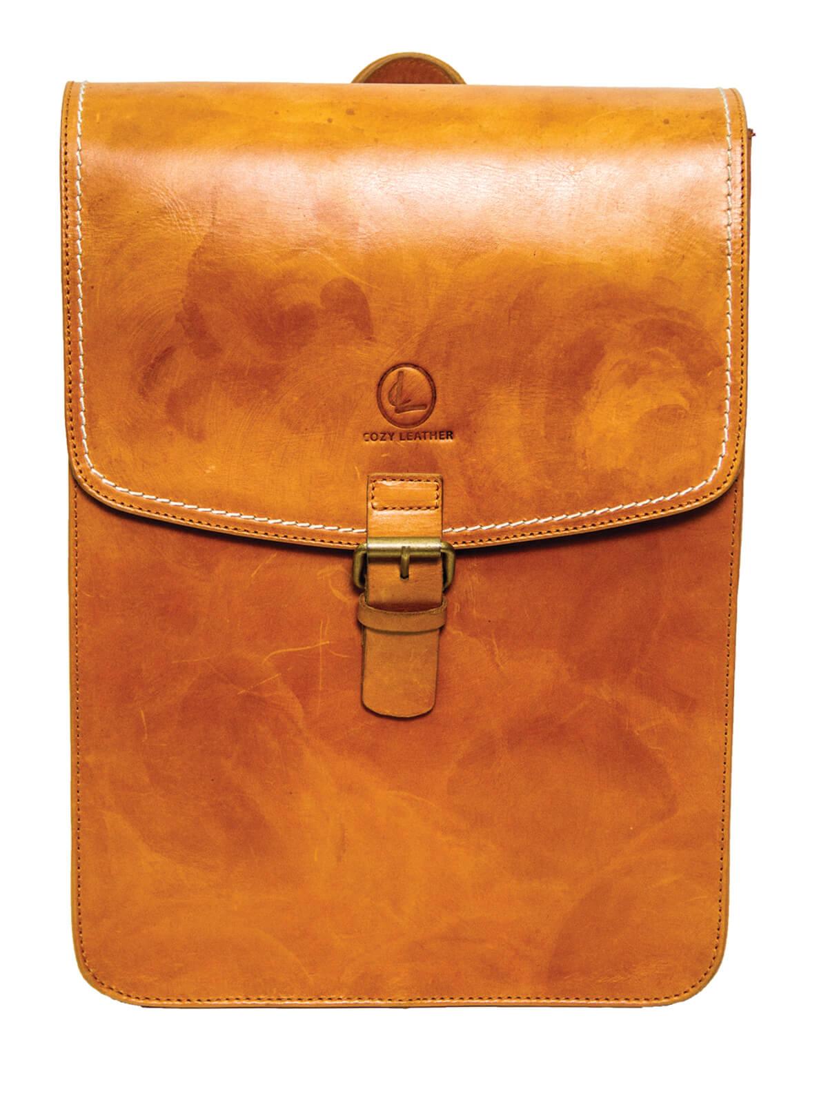 Christine Orange Leather Backpack