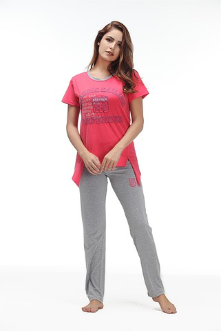 Lovebite O neck Short Sleeve (T shirt +Long Pants) Sleep Nightwear