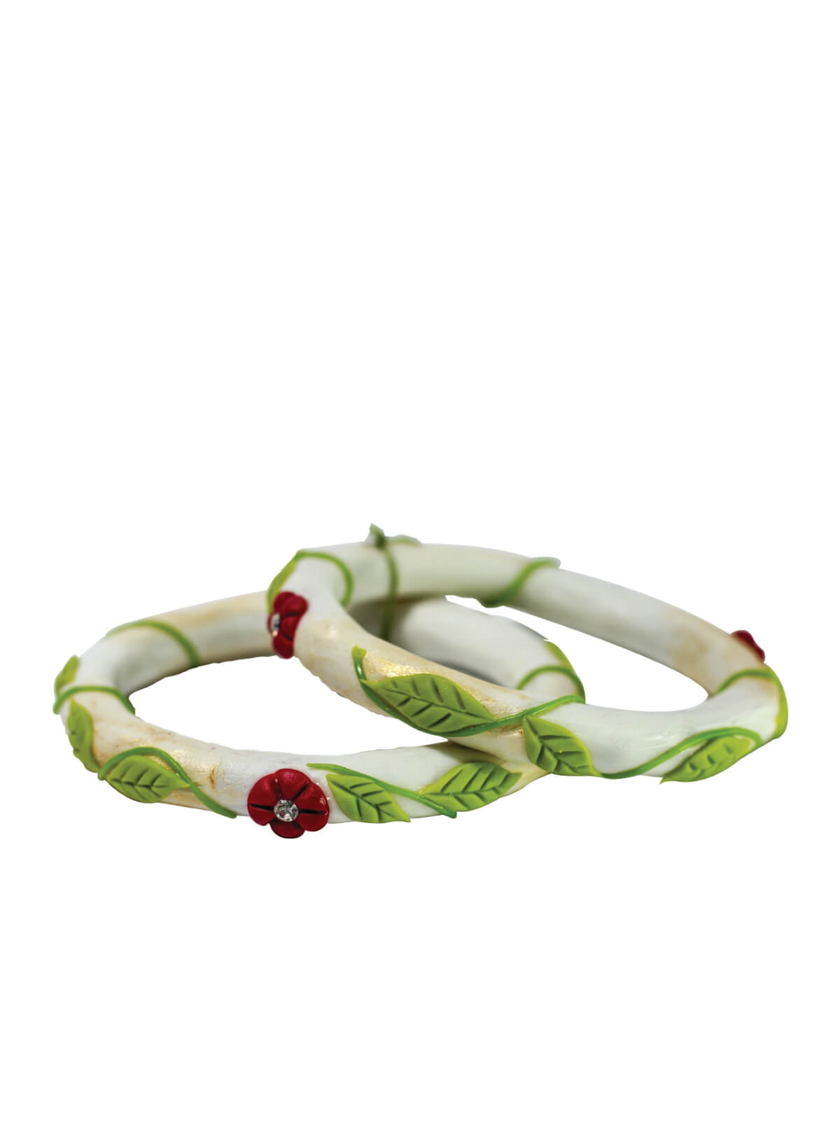 White, Green and Red Clay Bangles For Women