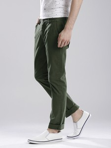 Green Casual Gabardine Pant For Men