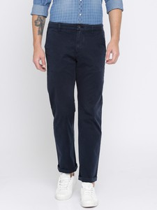 Deep Navy Casual Gabardine Pant For Men