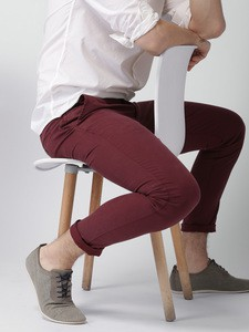 Maroon Casual Gabardine Pant For Men