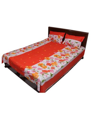 3 pcs cotton double size bedsheet - Orange Color
