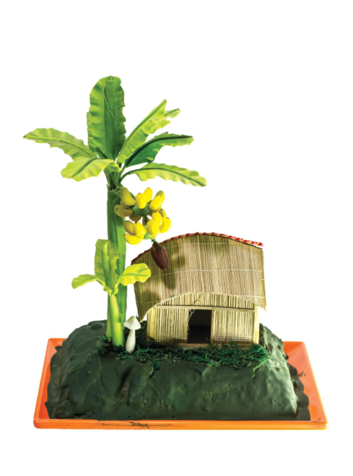 Village House and Banana Tree Showpiece