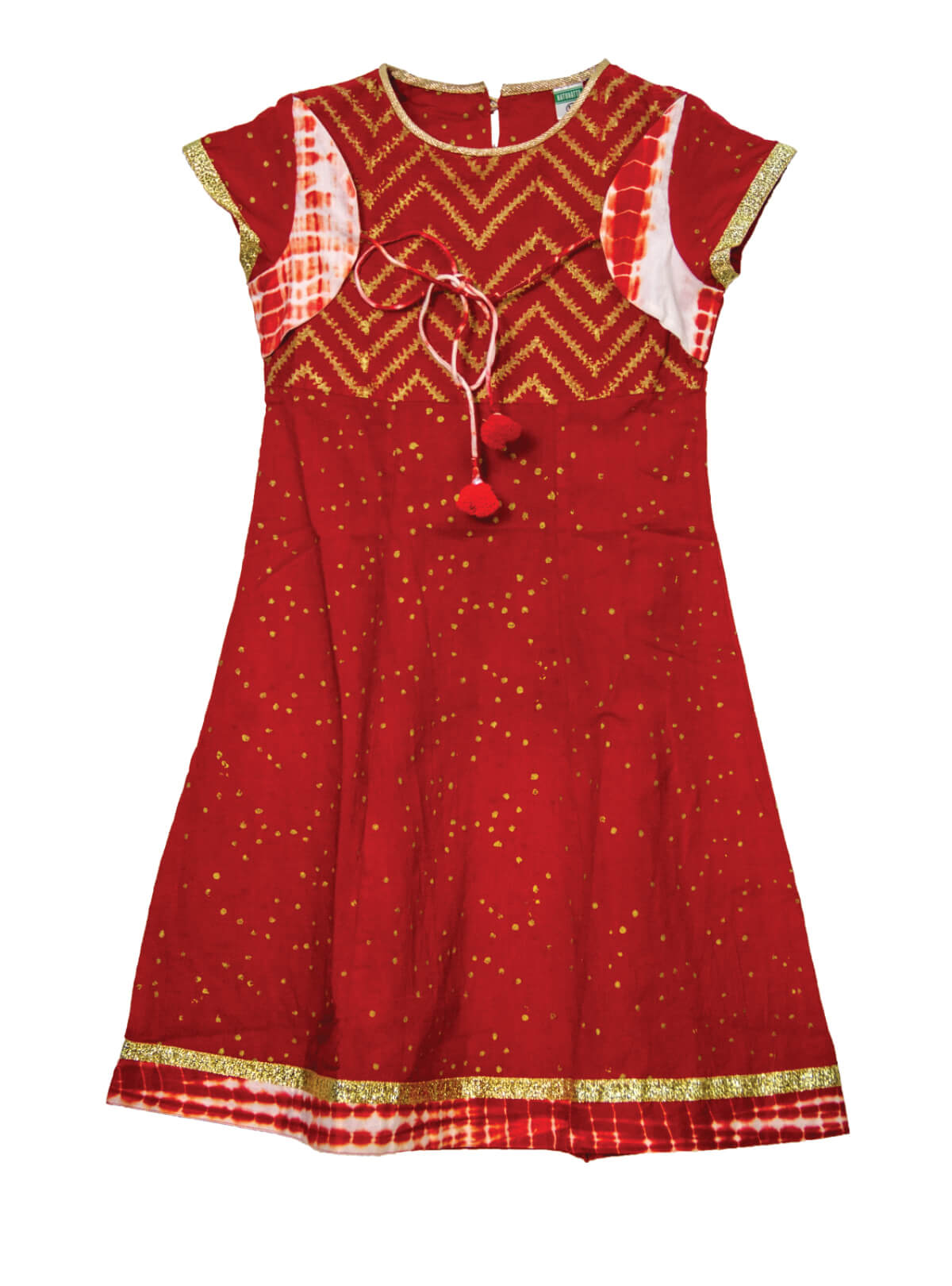 Scarlet Red Cotton Dress For Girls