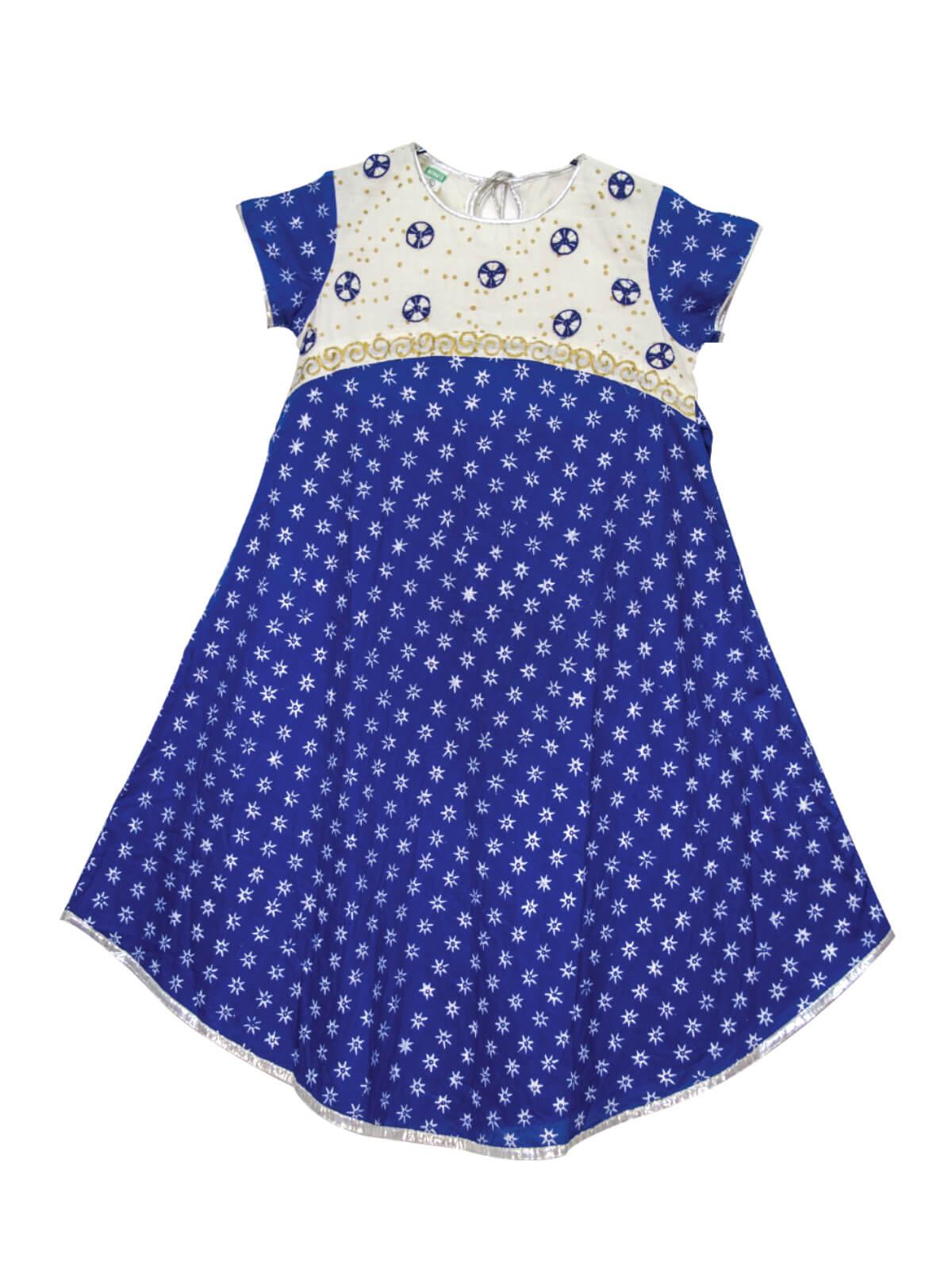 Lapis Blue Cotton Dress For Girls