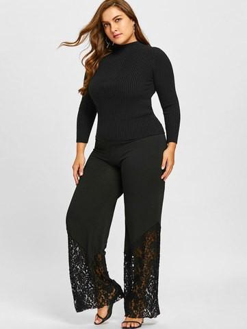Lovebite Women Plus Size Wide Leg Pants Lace Hollow Out Trim Palazzo Pants