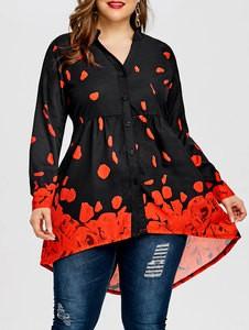 Lovebite Rose Petal Valentine Top Women Blouses Casual V-Neck Long Blouse Shirt