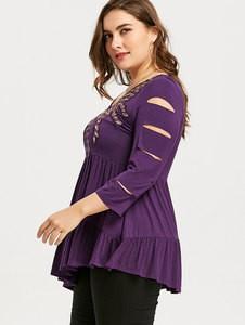 Lovebite Plus Size Embroidery Shredding Ripped Asymmetric T-shirt