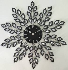 "Decorative Metal Wall Clock 24"" Black Leaf"
