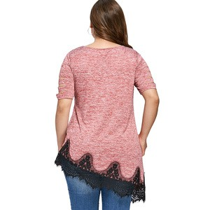 Lovebite Plus Size Shredding Lace Trim T-Shirt Women Top Tee