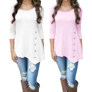 Lovebitebd O neck Long Sleeve Loose Button Trim Blouse For Women