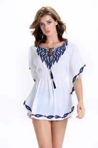 Lovebitebd Ethnic Embroidered Loose Batwing Tank Tops For Women