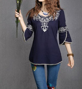 Lovebitebd Totem Pattern Vintage Ethnic Blouse For Women