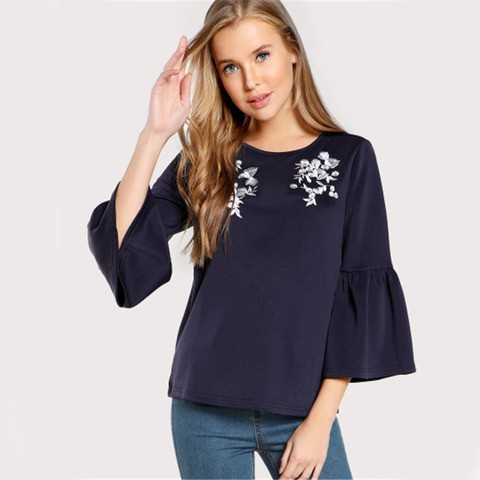 Lovebite Flower Embroidered Trumpet Sleeve Top