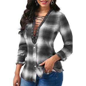 Lovebite Long sleeve Plaid Shirt Office Lady Shirts