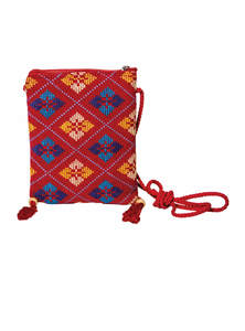 Red Cotton Mobile Bag For Women