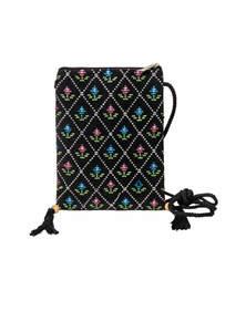 Black Cotton Mobile Bag For Women