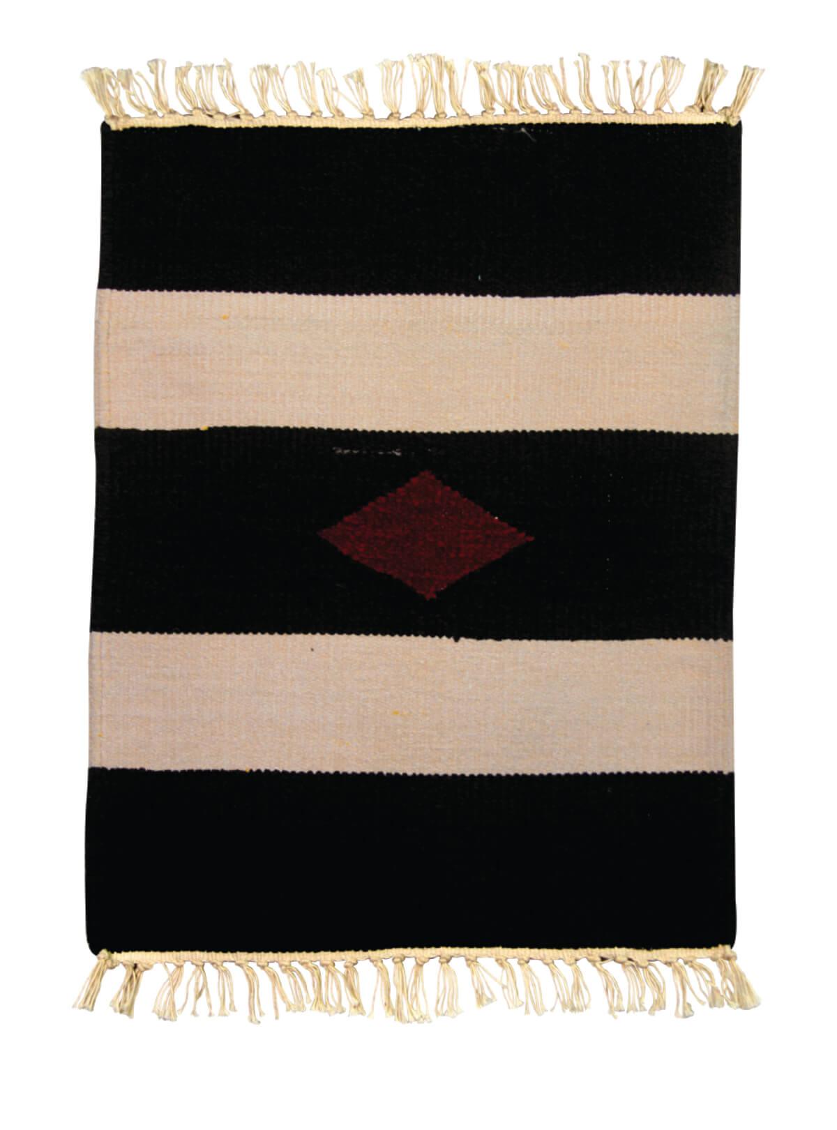 Black Cream Cotton Door Mat