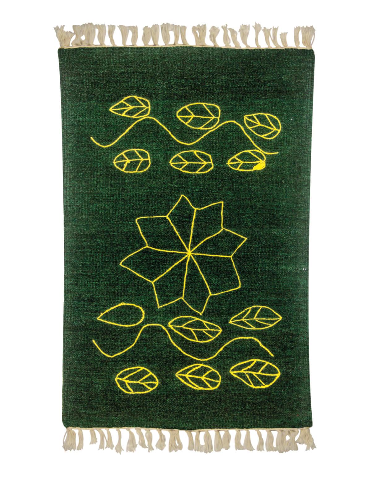 Green Yellow Multipurpose Cotton Acrylic Sataranji