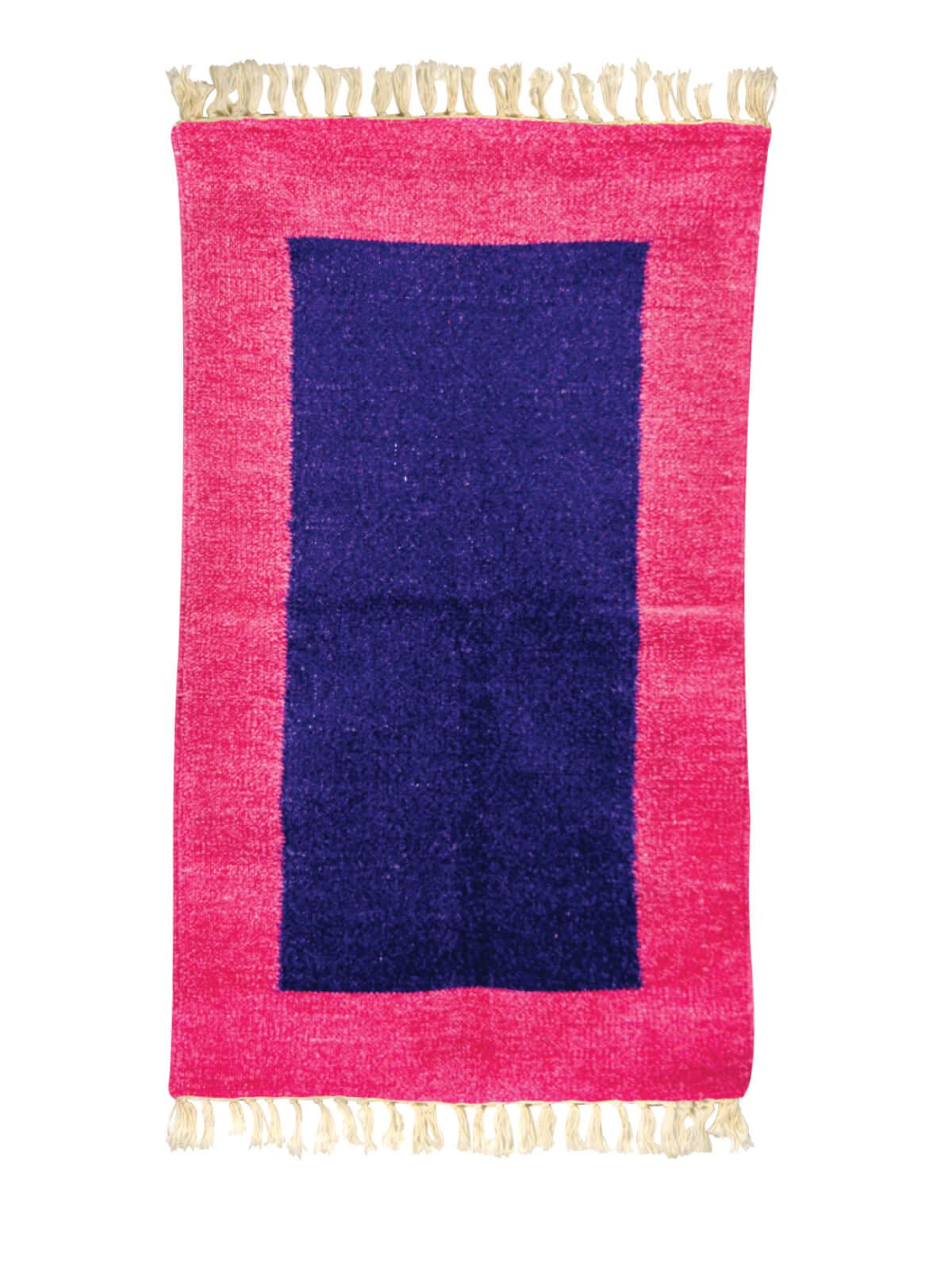 Blue Pink Multipurpose Cotton Acrylic Sataranji