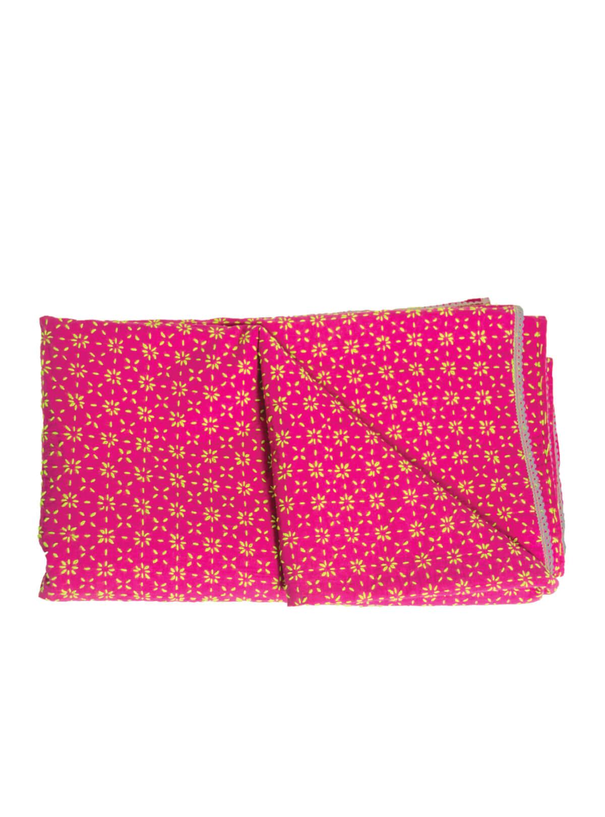 Pink and Yellow Cotton Nakshi Kantha