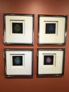 Agate Stone Framed Wall Display (Set of 4 )