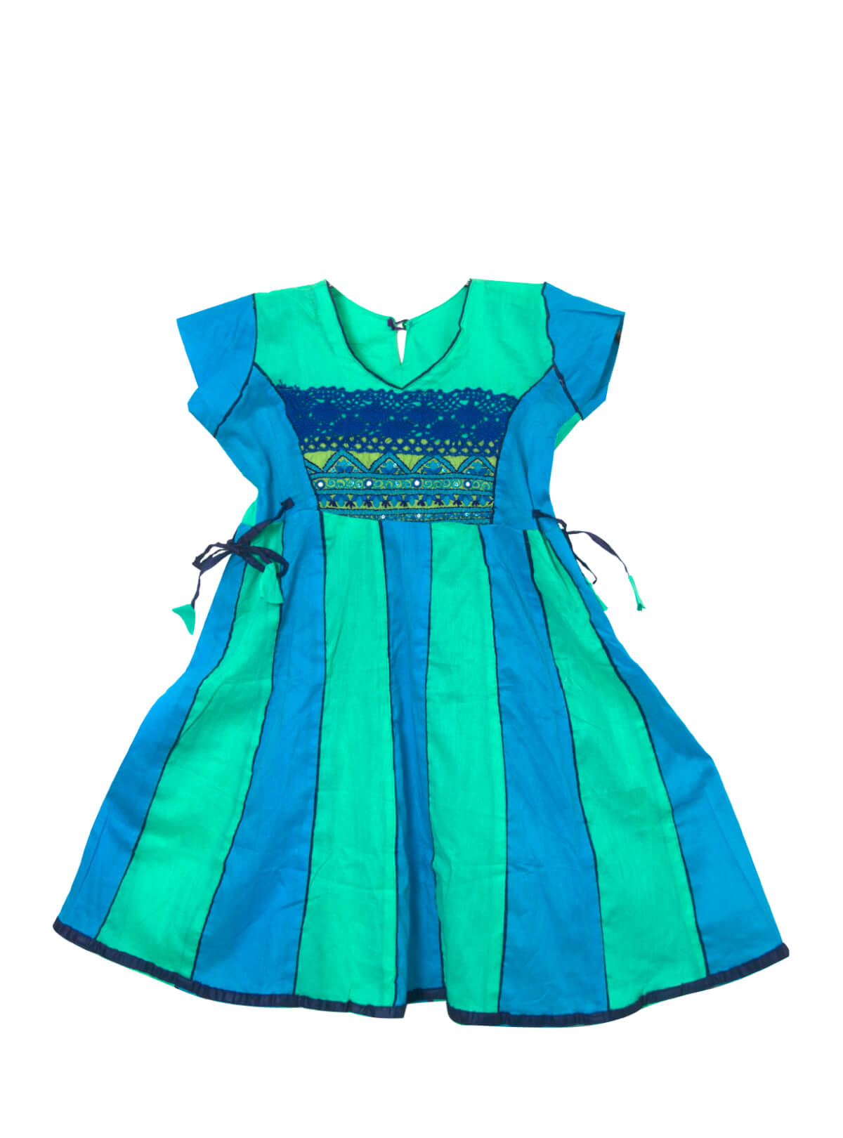 Robin's Egg & Pacific Blue Cotton Baby Frock
