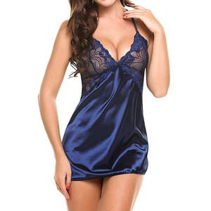 Lovebite Women Sheer Scalloped Satin Nightwear Silk Slip Sleepwear
