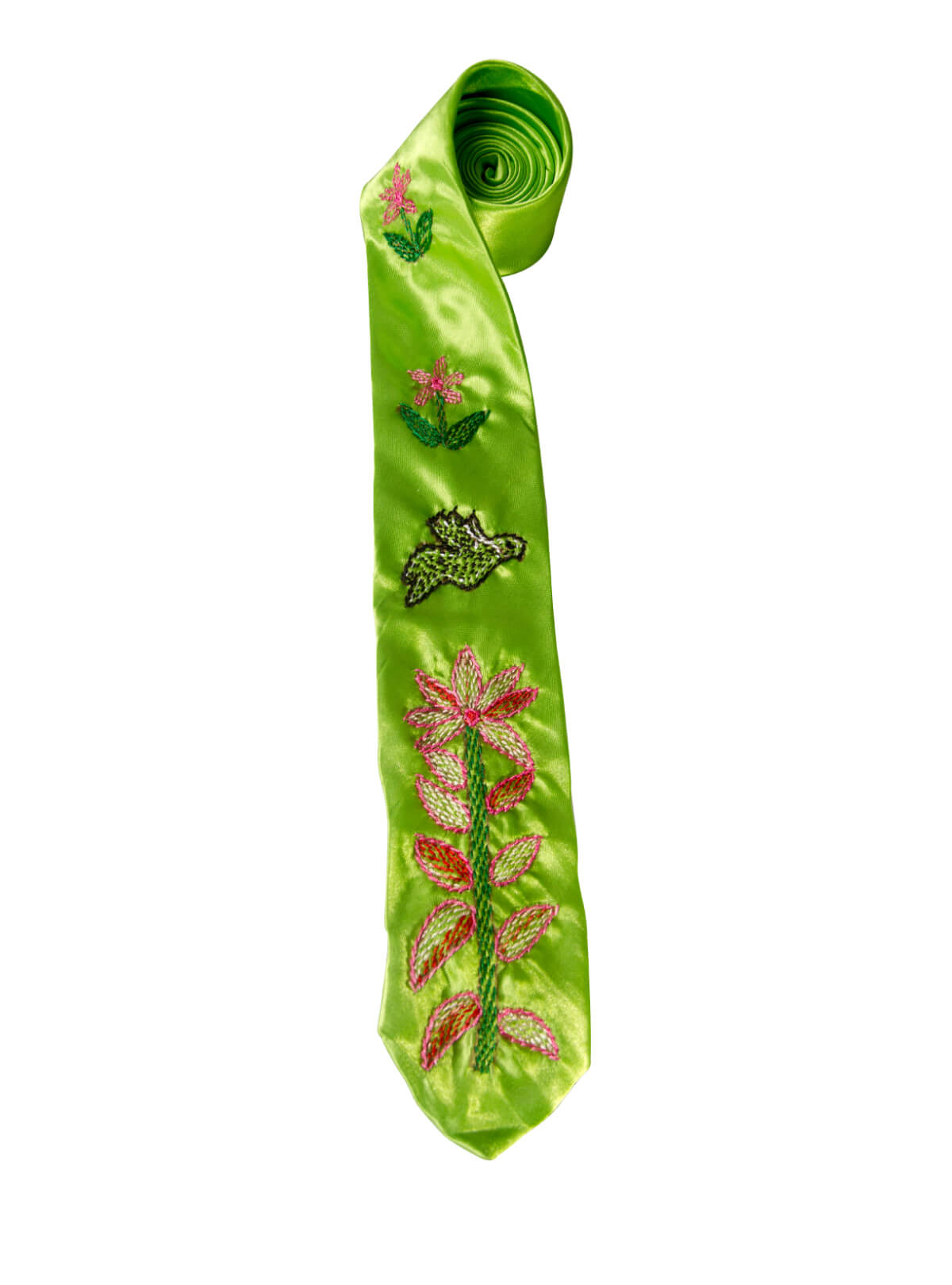 Olive Green Bird Flower Tie