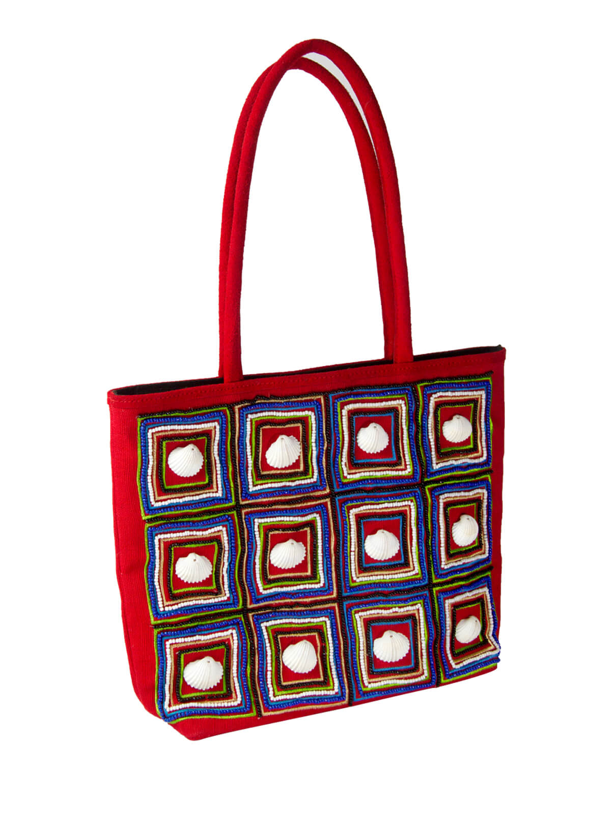 Candy Red Jute Fabric Ladies Hand Bag
