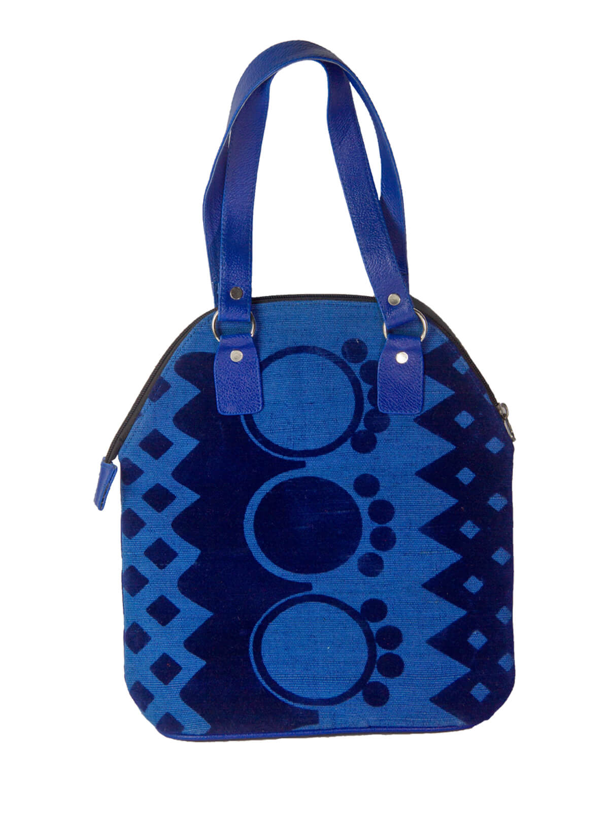 Navy And Cerulean Blue Jute Fabric Ladies Hand Bag